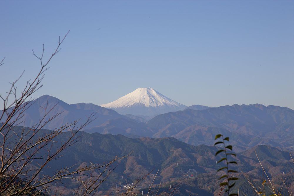 高尾山から富士山を臨む
